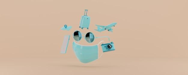 Rendering 3d accessori da viaggio azzurro su sfondo beige