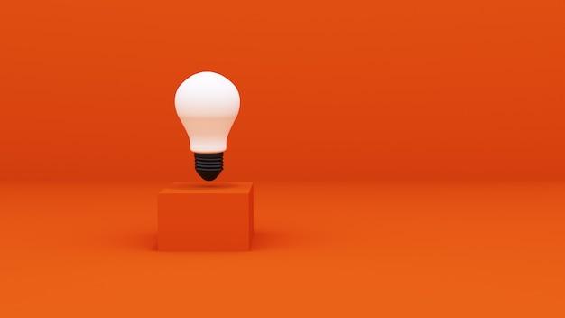 Rendering 3d. lampadine sul podio arancione. mock up per il tuo prodotto o banner