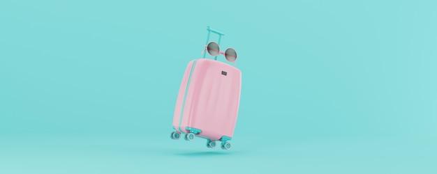 3d render valigia rosa chiaro con occhiali isolati su sfondo blu