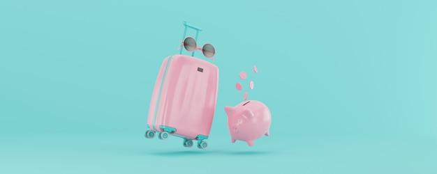 3d render valigia rosa chiaro con occhiali e salvadanaio isolato su sfondo blu