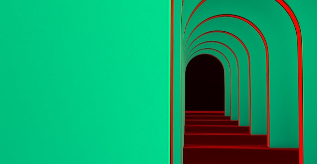 Rendering 3d di un lungo tunnel con archi per la presentazione del prodotto