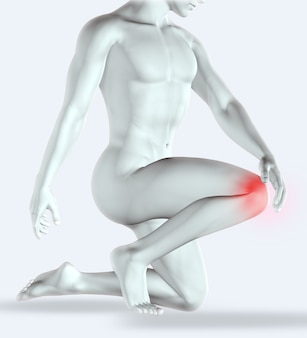 Rendering 3d di una figura maschile che tiene il ginocchio dolorante