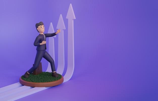 Rendering 3d dell'uomo accanto alle frecce in crescita su sfondo viola con spazio di copia