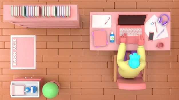 3d rendono l'uomo con il computer portatile che si siede sulla sedia facendo uso del computer portatile per lavoro online o l'apprendimento dell'istruzione mentre mette in quarantena