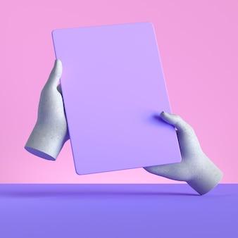 3d render manichino mani che tengono gadget, dispositivo elettronico isolato su sfondo rosa pastello viola.