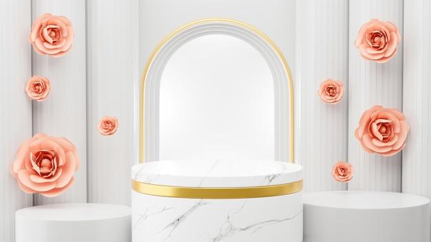 Rendering 3d di podio in marmo e architettura romana per l'esposizione del prodotto
