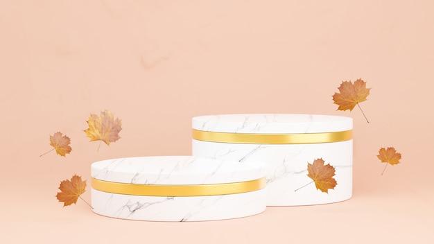 Rendering 3d del podio in marmo con la stagione autunnale per l'esposizione del prodotto