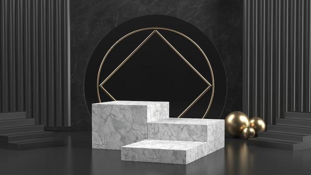 3d rendono del podio di marmo con le palle dorate