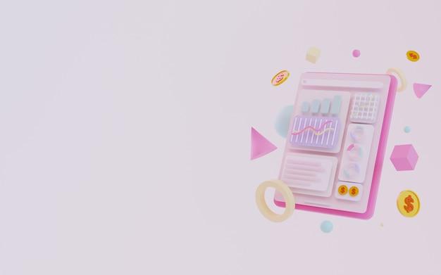 Rendering 3d sfondo di statistiche di marketing con tablet e grafici