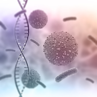 Rendering 3d di un background medico con filamenti di dna astratti e cellule virali