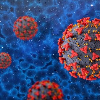 Rendering 3d di uno sfondo medico con cellule del virus covid 19