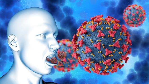 Rendering 3d di uno sfondo medico con figura maschile e cellule virali covid 19