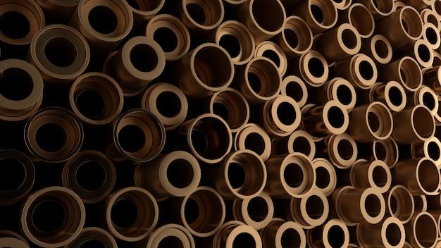 Rendering 3d di forme metalliche con altezza casuale. le primitive di forma metallica formano uno sfondo astratto industriale.