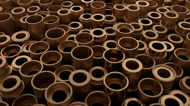 Rendering 3d di forme metalliche con altezza casuale. le primitive di forma metallica formano il fondo astratto industriale.