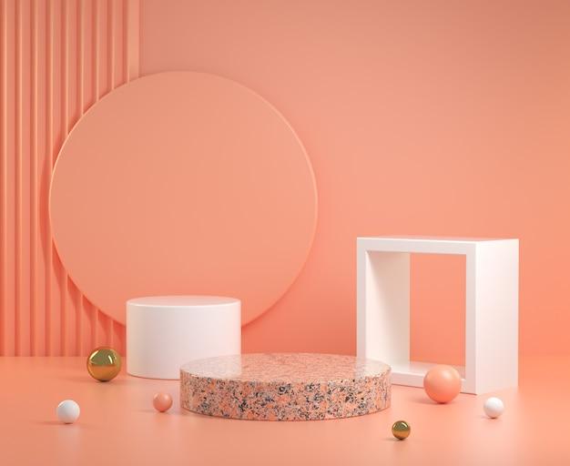 3d rendono il podio geometrico astratto minimo con l'illustrazione pastello arancione del fondo