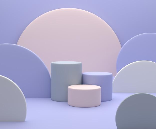 Rendering 3d scena minima con podio e sfondo astratto forme geometriche scena di colori pastello