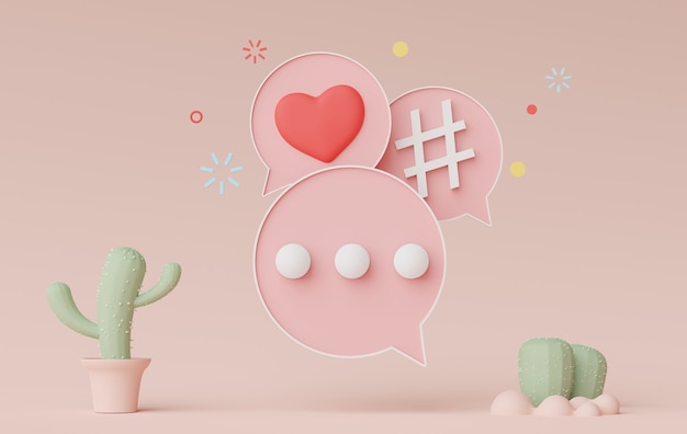 Rendering 3d di un banner con barra parlante minimo o di un commento a bolle di icone in uno sfondo color terra pastello earth