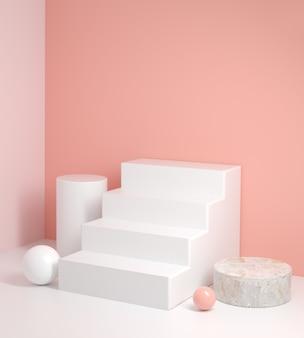 Rendering 3d minimo passo bianco display rosa sfondo astratto illustrazione