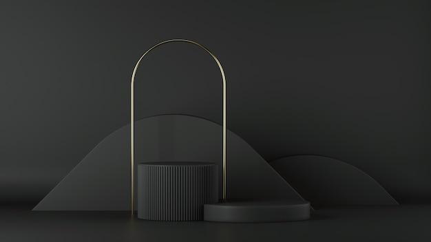 Rendering 3d di sfondo nero minimalista con podio cilindro vuoto e arco dorato.