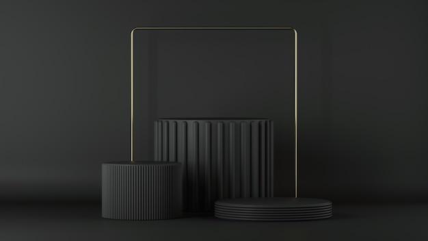 Rendering 3d di sfondo nero minimalista con podio cilindro vuoto e cornice quadrata dorata.