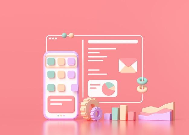 Sviluppo di applicazioni mobili 3d render