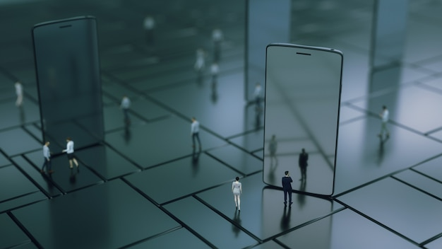 Rendering 3d. cellulare e persone varie