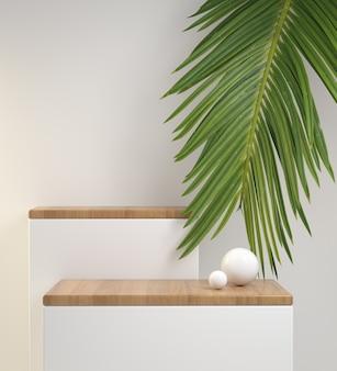 Rendering 3d mockup minimal display passo bianco e legno di quercia sulla parte superiore