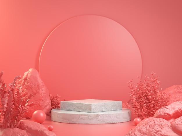 3d rendono il podio della fase del mockup con l'illustrazione di concetto del fondo astratto della foresta rosa