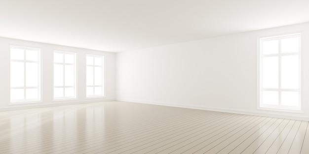 Rendering 3d della moderna stanza vuota con pavimento in legno e grande parete semplice bianca.