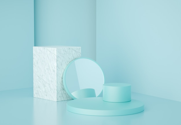 3d render forme geometriche moderne con marmo e specchio, per la presentazione del prodotto