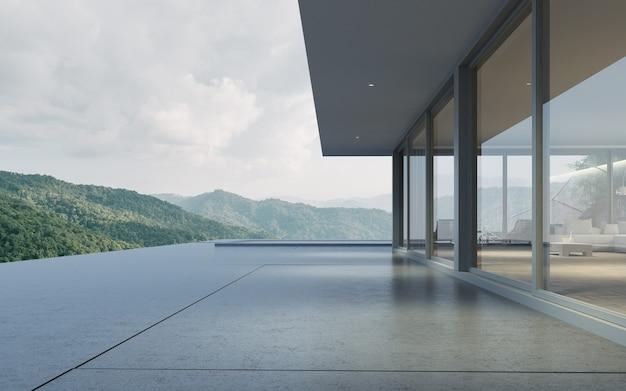 Rendering 3d della casa moderna con piscina sullo sfondo della montagna.
