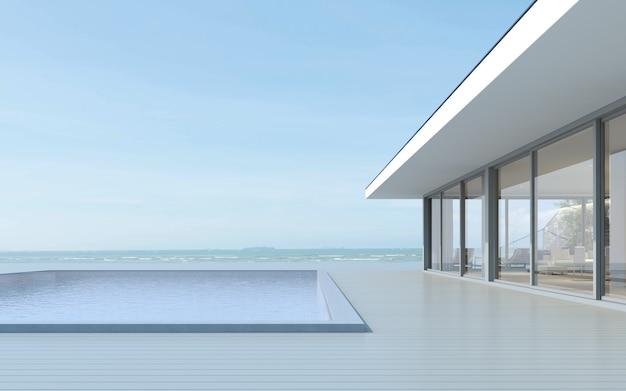 Rendering 3d della casa moderna con piscina sul fondo del mare.