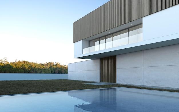 Rendering 3d di casa moderna con piscina su sfondo albero.