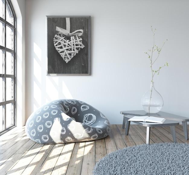 3d rendering di un moderno salone interno