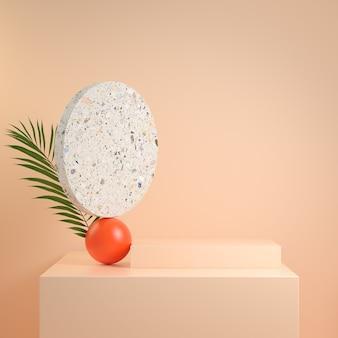 3d render composizione geometria astratta fase minima moderna con illustrazione di sfondo colore della pelle