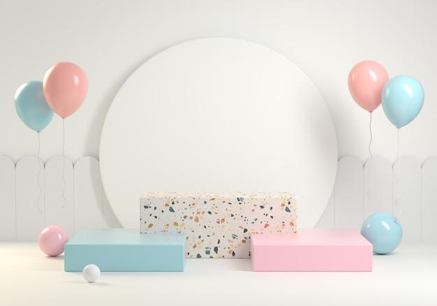 Rendering 3d moderno passo minimo podio bambino concetto celebrazione sfondo pastello