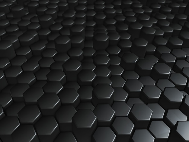 Rendering 3d di una moderna tecnologia di esagoni estrusi neri