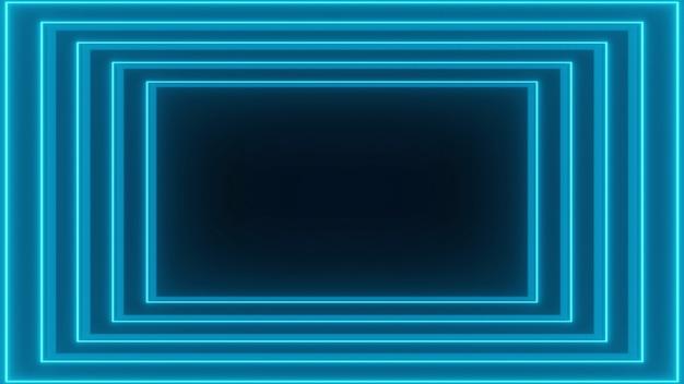 Rendering 3d, muta linee luminose, luci al neon, realtà virtuale, sfondo astratto, portale quadrato, colori vibranti dello spettro blu, spettacolo laser