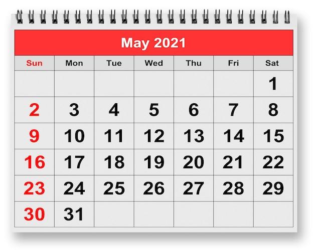 Rendering 3d calendario mensile sulla pagina di maggio del duemila ventuno