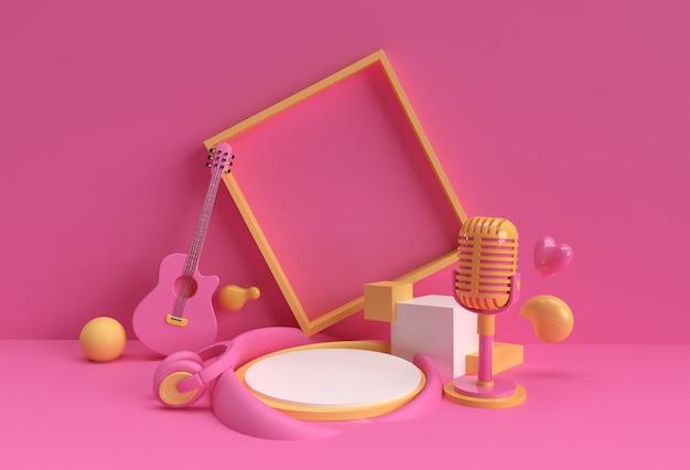 Rendering 3d scena di sottofondo musicale di scena minima sul podio per il design pubblicitario di prodotti display.