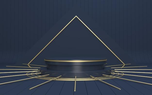 3d render navy podio per la visualizzazione del prodotto