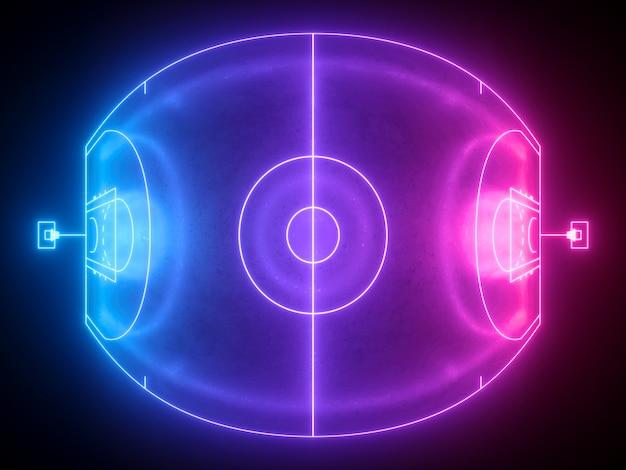 Rendering 3d, schema di campo di pallacanestro al neon vista dall'alto di fish eye, parco giochi sportivo virtuale.