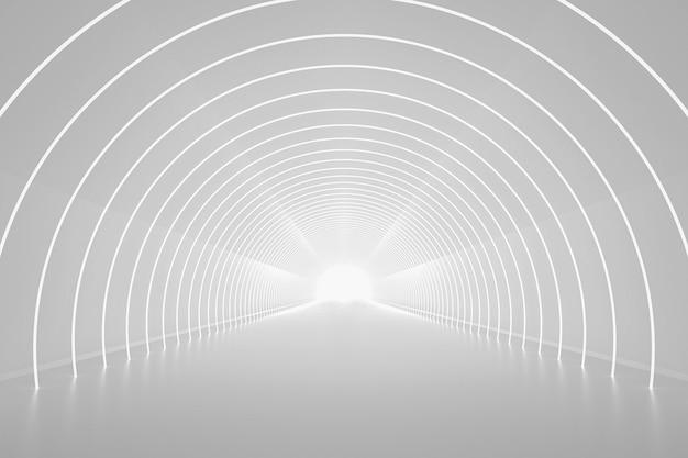 Rendering 3d, sfondo astratto con luce al neon, portale rotondo, anelli, cerchi, realtà virtuale, podio della moda, palcoscenico, riflesso del pavimento