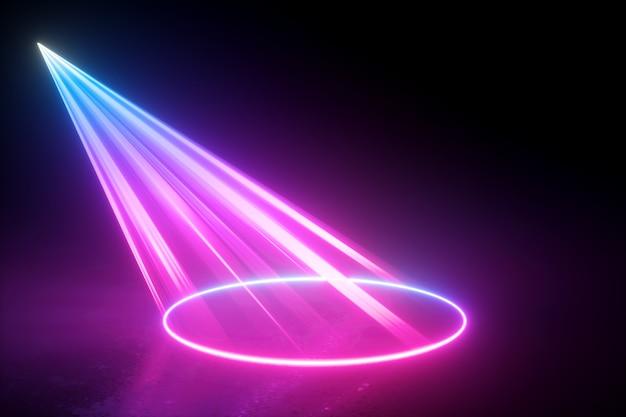 Rendering 3d di luce al neon astratta con raggi laser rosa blu nel buio