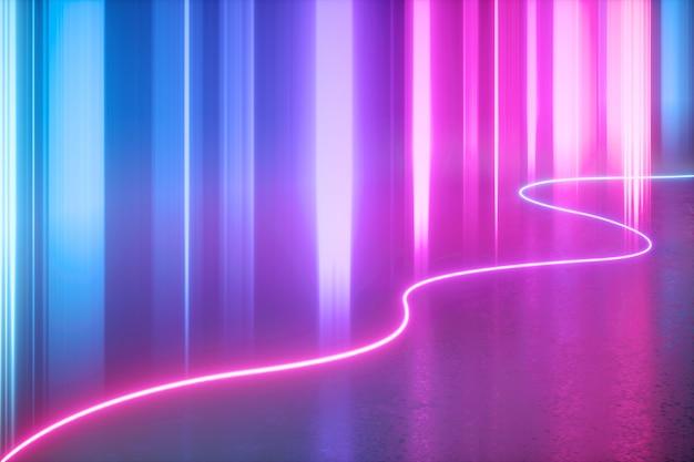 Rendering 3d di luce al neon astratta con linee verticali blu rosa