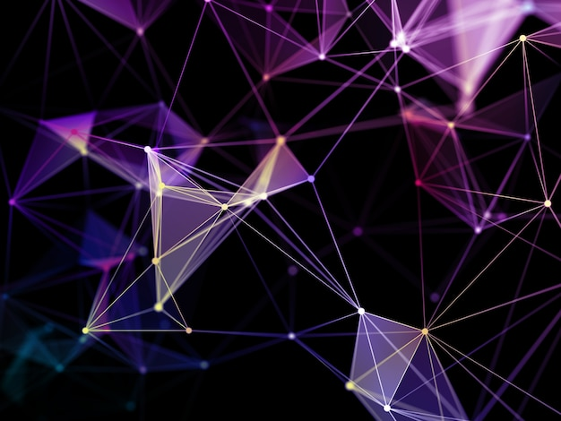 Rendering 3d di uno sfondo di comunicazioni di rete con un design a basso poli plesso