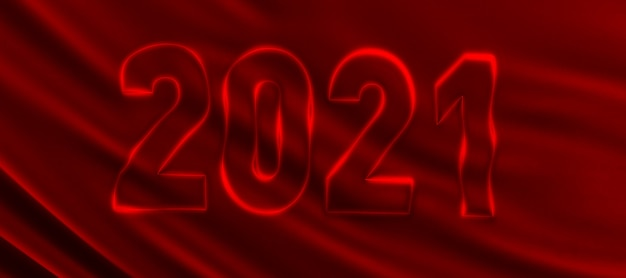 Rendering 3d del modello del nuovo anno 2021 su uno sfondo di seta rossa. felice anno nuovo