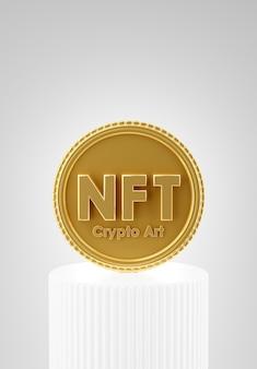 Rendering 3d della moneta nft con crittografia digitale sul podio per la visualizzazione del prodotto