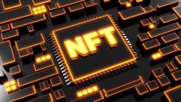 Rendering 3d di nft con concetto di crittografia digitale per la visualizzazione del prodotto
