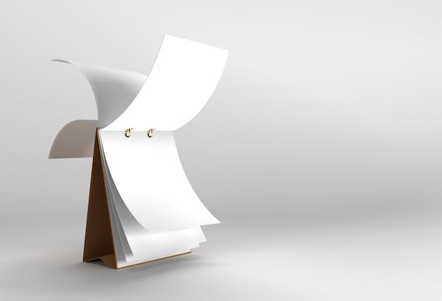 Render 3d notebook mock up mentre si gira per il design e la pubblicità, illustrazione 3d vista prospettica.